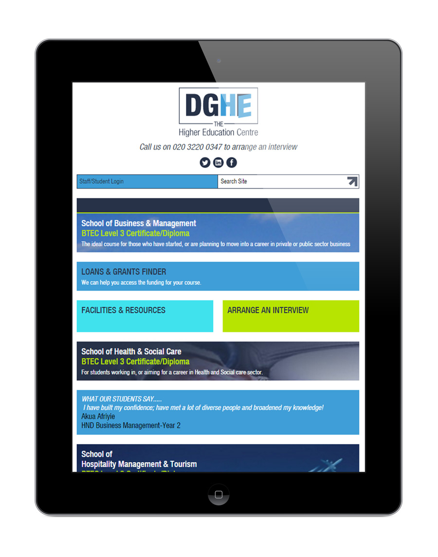 DGHE Responsive Web Design on Tablet