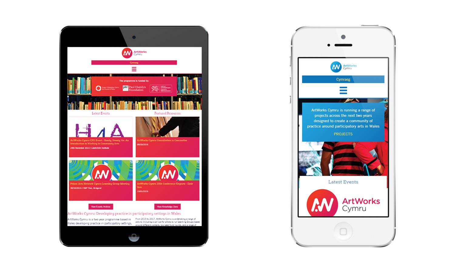 ArtWorks Cymru Responsive Web Design on Mobile