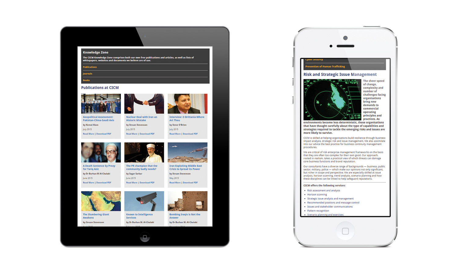 The Centre for Issue and Crisis Management Responsive Website Design on Mobile