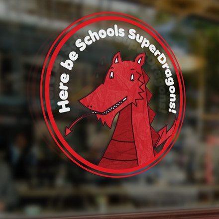 SUperdragon window vinyl design